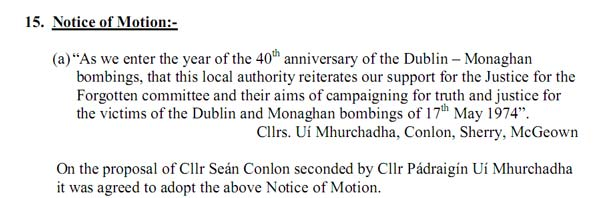 Monaghan Town Council motion December 2013
